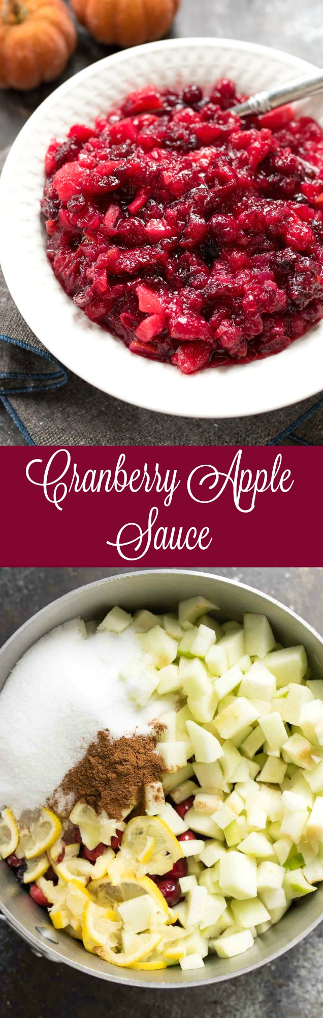 Cranberry Apple Sauce | green apples + lemon and cinnamon make this the perfect cranberry sauce for your Holiday spread. Naturally gluten free! | www.nutritiouseats.com