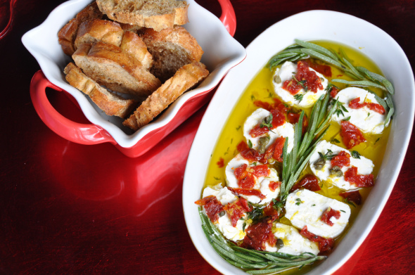 Holiday Appetizer: Marinated Goat Cheese with Herbs & Lemon ...