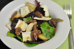 Baby Greens with Pear & Brie and an Apricot Balsamic Dressing