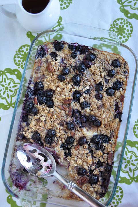 Banana and Blueberry Baked Oatmeal- not an oatmeal lover? Try this version- change up the fruit and/or nuts used to your liking!   www.nutritiouseats.com