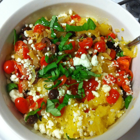 Spaghetti Squash with Tomatoes, Olives and Feta - Nutritious Eats
