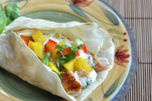 Grilled Fish Tacos with Mango Salsa and Cilantro Crema