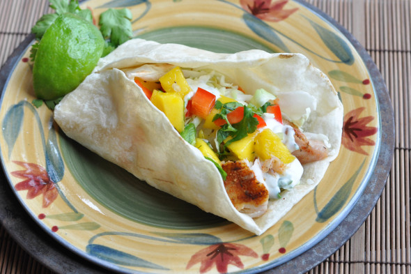 Grilled fish tacos with mango salsa and cilantro crema for Crema for fish tacos