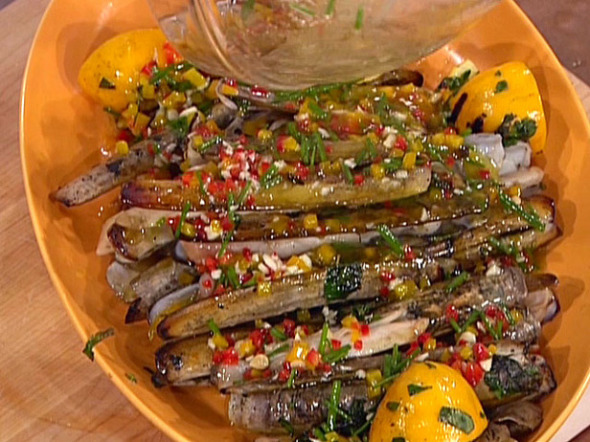 Grilled-Razor-Clams-with-Meyer-Lemon-Chive-Vinaigrette_s4x3_lg