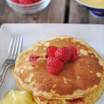 Raspberry Corncakes with Lemon Curd