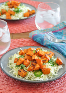 Chipotle Roasted Sweet Potato and Cabbage Salad