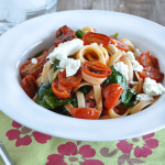 Fettuccine with Tomato, Spinach & Goat Cheese-1