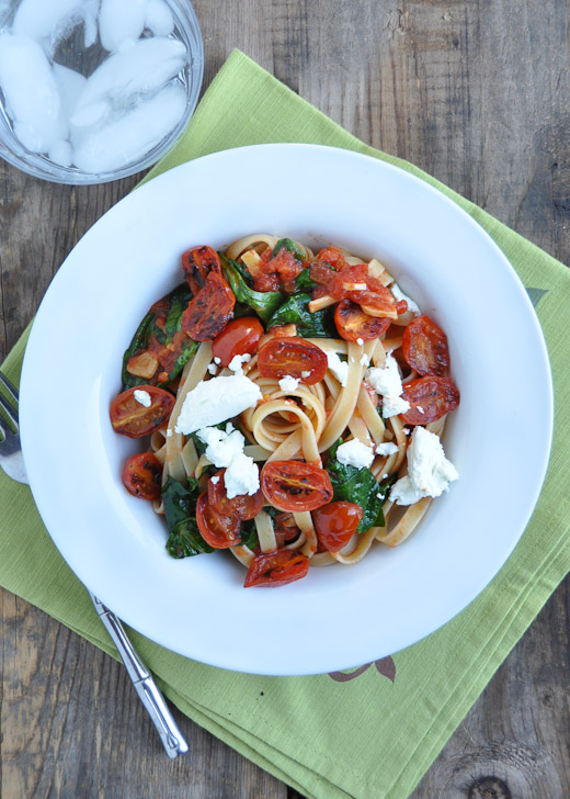 Fettuccine with Tomato, Spinach & Goat Cheese-4