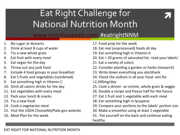 Eat Right For National Nutrition Month Nutritious Eats