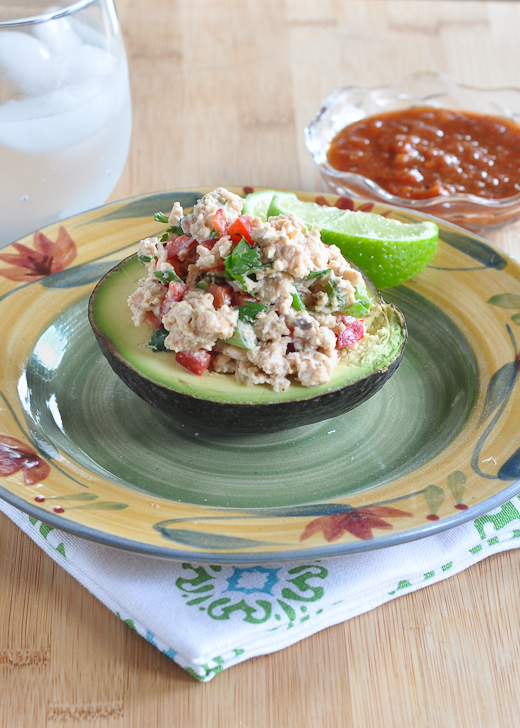 Salmon Salad Stuffed Avocado (with a Mexican twist) | www.nutritiouseats.com