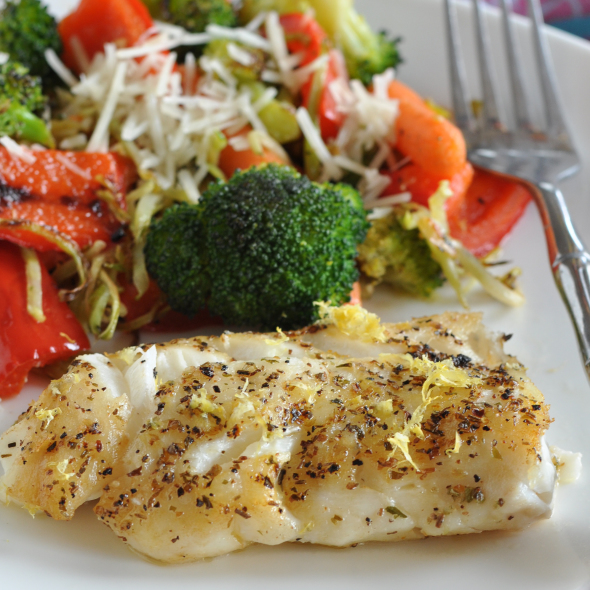 Pan-Seard Haddock for One with Roasted Vegetables