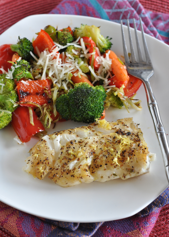 Pan-Seared Haddock with Roasted Vegetables= Sizzlefish