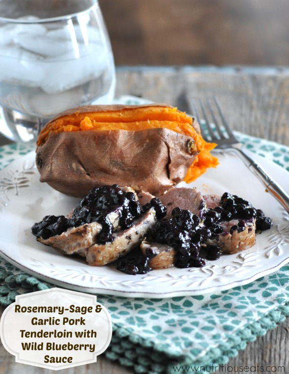 Rosemary-Sage & Garlic Pork Tenderloin with Wild Blueberry Sauce
