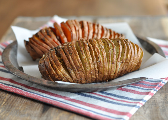 Hasselback Potatoes with Garlic & Herbs | www.nutritiouseats.com