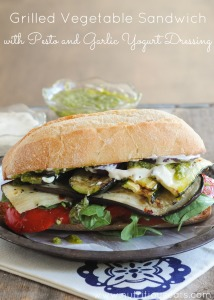 Grilled Vegetable Sandwich with Pesto & Garlic Yogurt Dressing