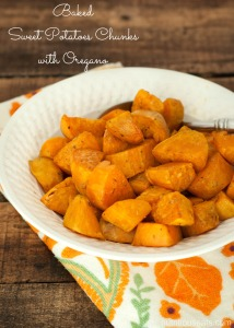 Baked Sweet Potato Chunks with Oregano