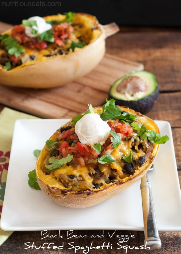 Black Bean and Veggie Stuffed Spaghetti Squash #glutenfree #vegetarian| www.nutritiouseats.com