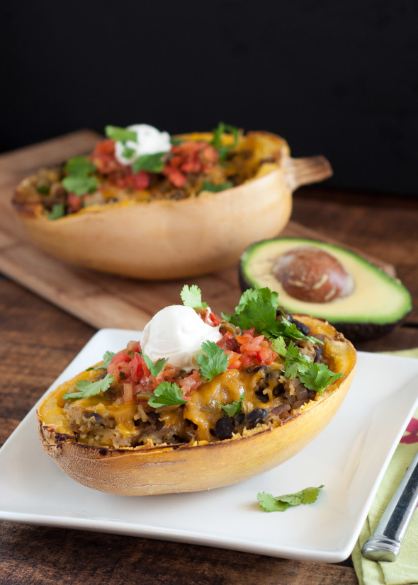 Black Bean and Veggie Stuffed Spaghetti Squash