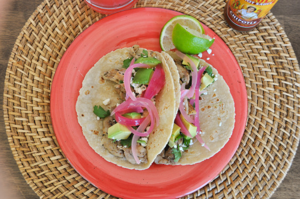 Chicken Tacos with Pickled Onions and Feta | www.nutritiouseats.com