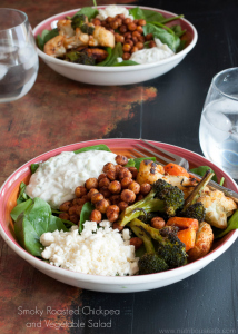 Smoky Roasted Chickpea and Vegetable Salad With Tzatziki Dressing