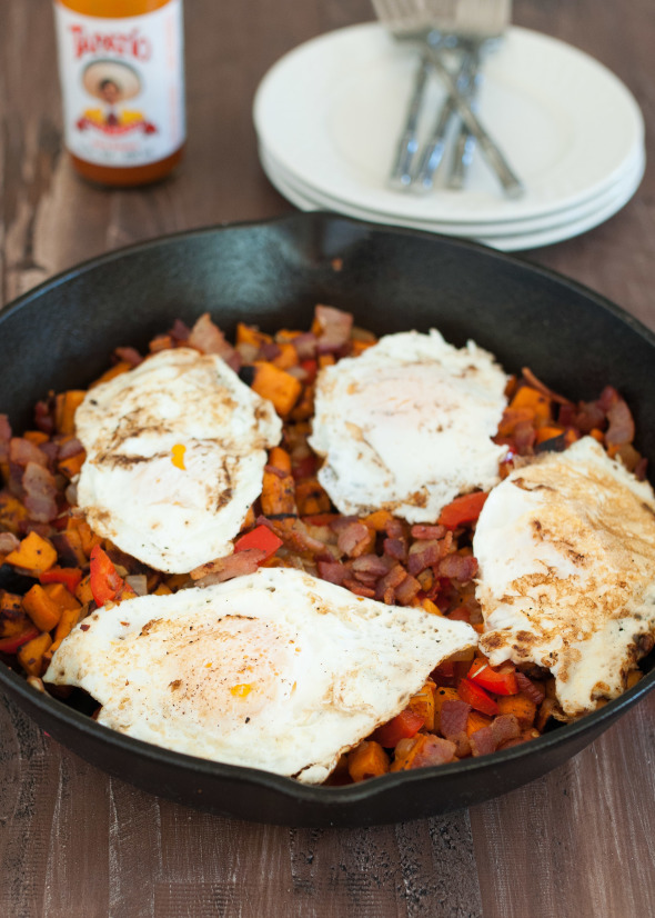 Sweet Potato Hash with Bacon and Eggs | Nutritious Eats