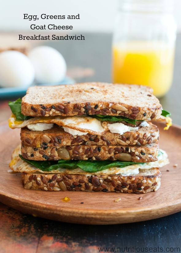 Eggs, Greens and Goat Cheese Sandwich | www.nutritiouseats.com