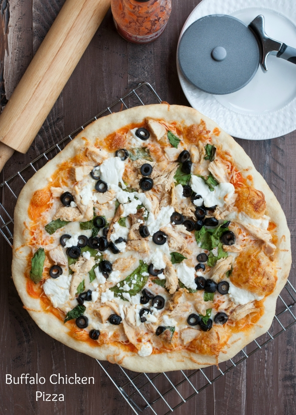 Buffalo Chicken Pizza with Goat Cheese | www.nutritiouseats.com