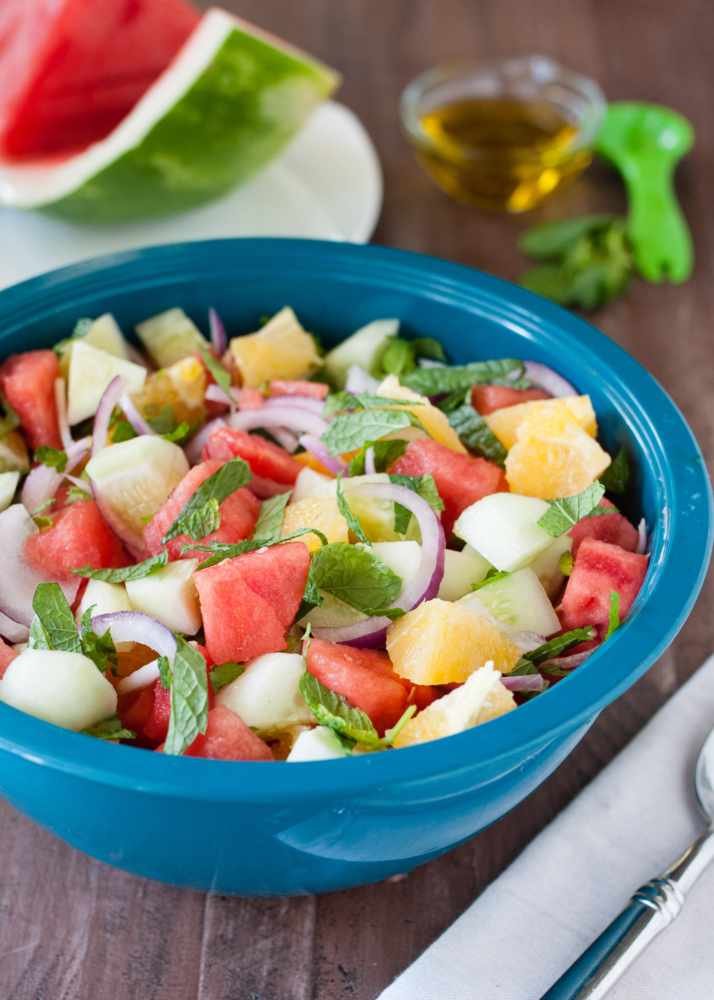 Watermelon Cucumber Salad| www.nutritiouseats.com