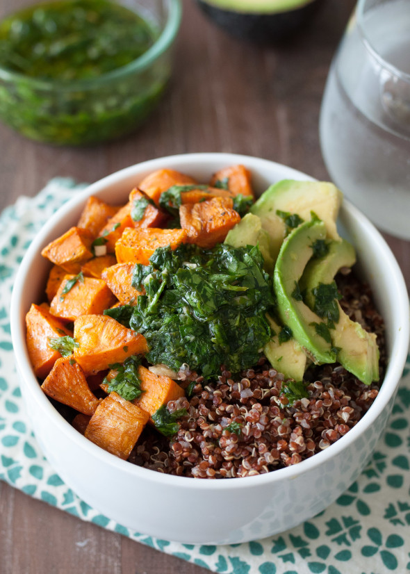 Quinoa and Sweet Potato Bowl with Chimichurri #glutenfree #vegan | Nutritious Eats