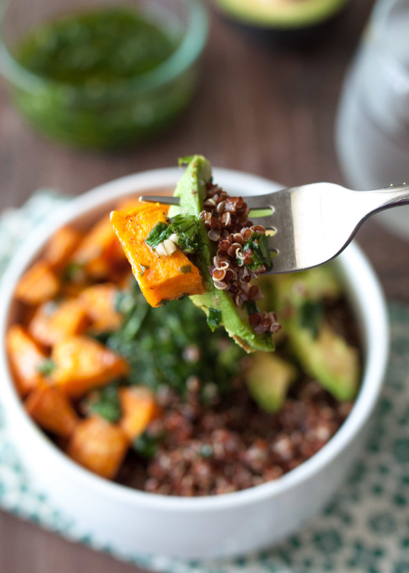 Quinoa and Sweet Potato Bowl with Chimichurri-3