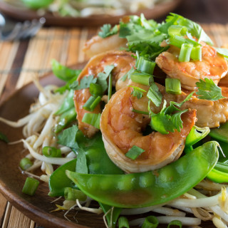 Shrimp With Ginger and Soy Over Bean Sprouts and Snow Peas