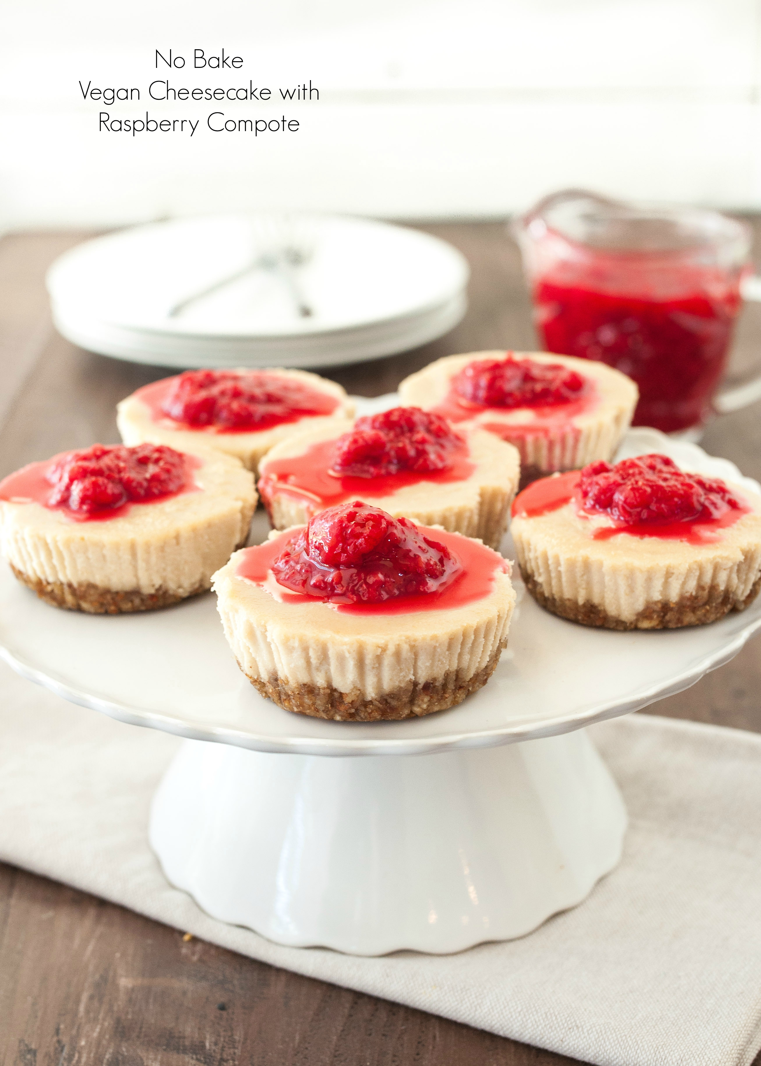 No Bake Vegan Cheesecake with Raspberry Compote #glutenfree | Nutritious Eats