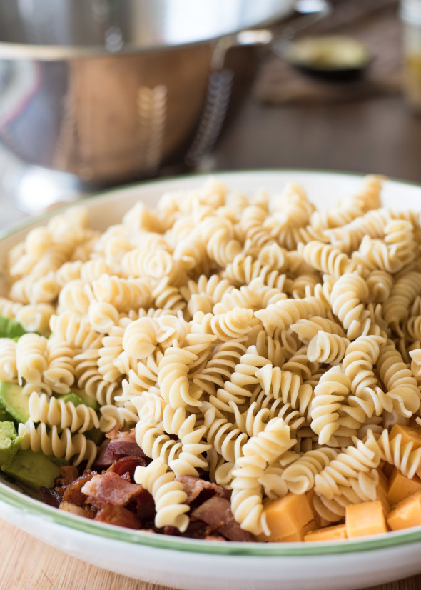 Cobb Pasta Salad- traditional Cobb Salad meets pasta in this kid-friendly, one dish meal.
