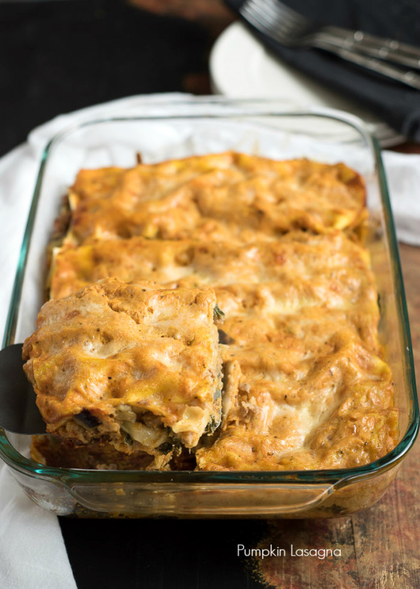 Pumpkin Lasagna- a fun twist on a classic favorite. This has a pumpkin sauce and is filled with turkey sausage, eggplant and kale. It makes a great Holiday dish. #PastaFits #AD |