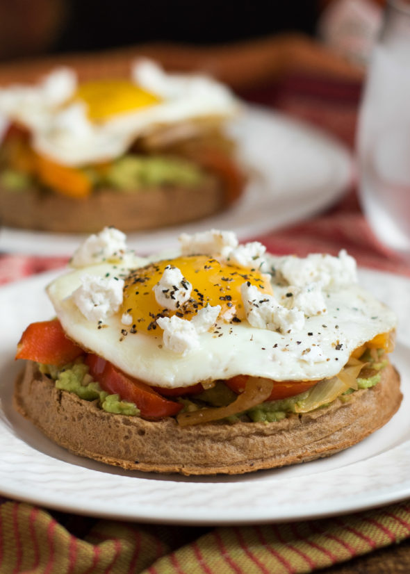Avocado Egg Waffle with Peppers and Goat Cheese- whole grain waffles plus avocado, veggies and egg make a filling and savory breakfast or brunch | www.nutritiouseats.com