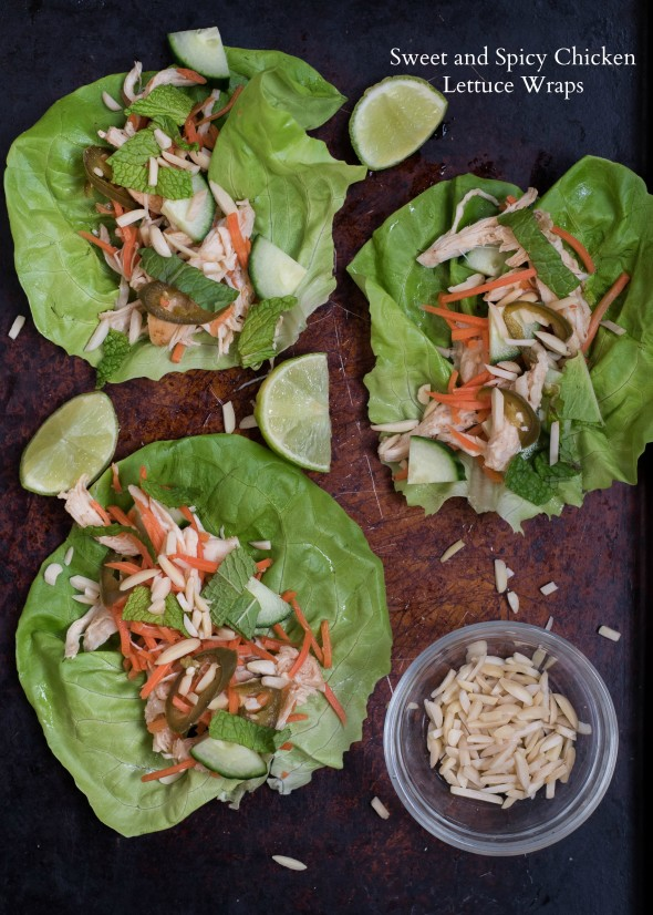 Sweet and Spicy Chicken Lettuce Wraps- low carb, high protein, super simple for a light dinner or appetizer night | www.nutritiouseats.com