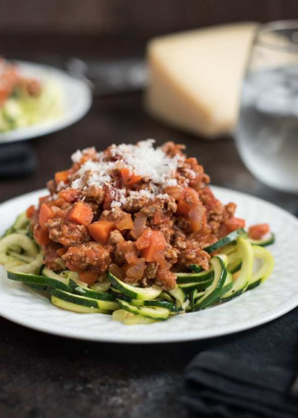 Zucchini Noodles With Turkey Marinara- Quick and easy, ready in under 30 minutes. Whole foods, gluten free and paleo friendly. | www.nutritiouseats.com