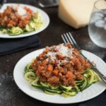 Zucchini Noodles With Turkey Marinara- Quick and easy, ready in under 30 minutes. Whole foods,, gluten free and paleo friendly. | www.nutritiouseats.com