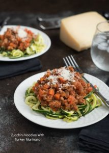 Zucchini Noodles With Turkey Marinara {Gluten Free, Low Carb}
