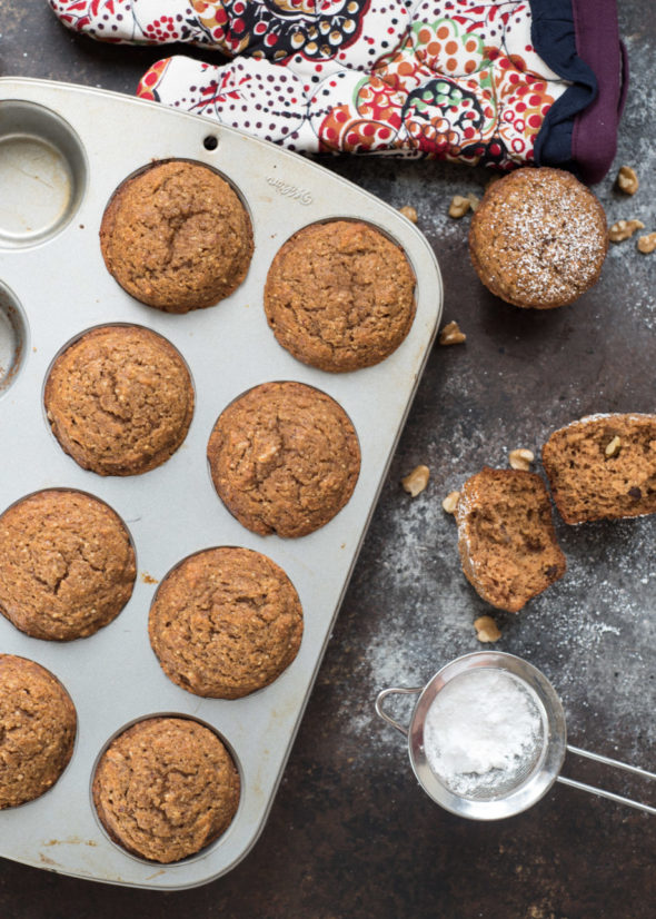 Applesauce Muffins {Whole Grain}- these simple and super moist muffins can be whipped up in hurry! | www.nutritiouseats.com