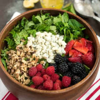 Berry and Herb Salad With Lemon Vinaigrette- sweet and tangy, a great brunch or summer salad! #glutenfree | www.nutritiouseats.com