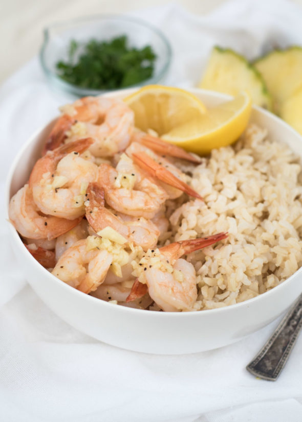 Hawaiian Garlic Shrimp- just like the garlic shrimp you'll find in Hawaii. Sweet buttery garlic sauce ready in under 20 minutes. #glutenfree | www.nutritiouseats.com