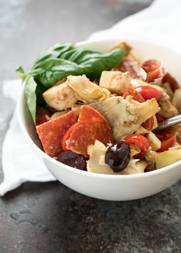 "Antipasto Salad- perfect for 'Tapas night"" at home or al fresco dining, picnic style! #glutenfree