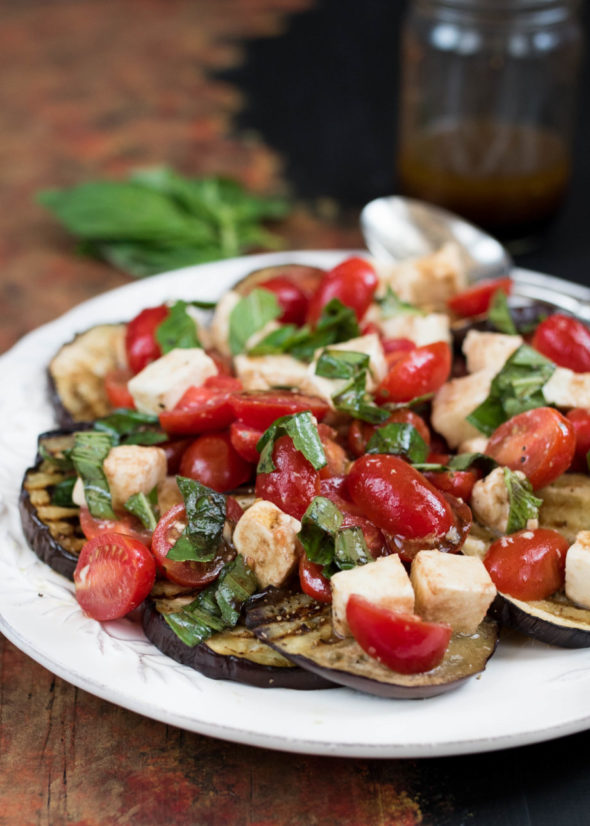 Caprese Salad Over Grilled Eggplant- a delicious summer side to pair with any meal #glutenfree | www.nutritiouseats.com