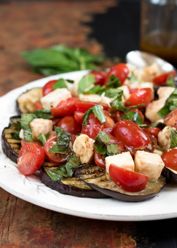 Caprese Salad Over Grilled Eggplant- a delicious summer side to pair ...