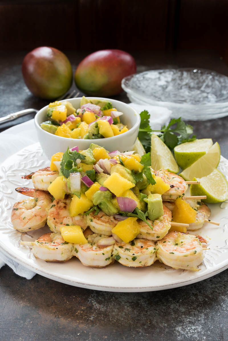 Mango Cilantro Shrimp With Mango Salsa