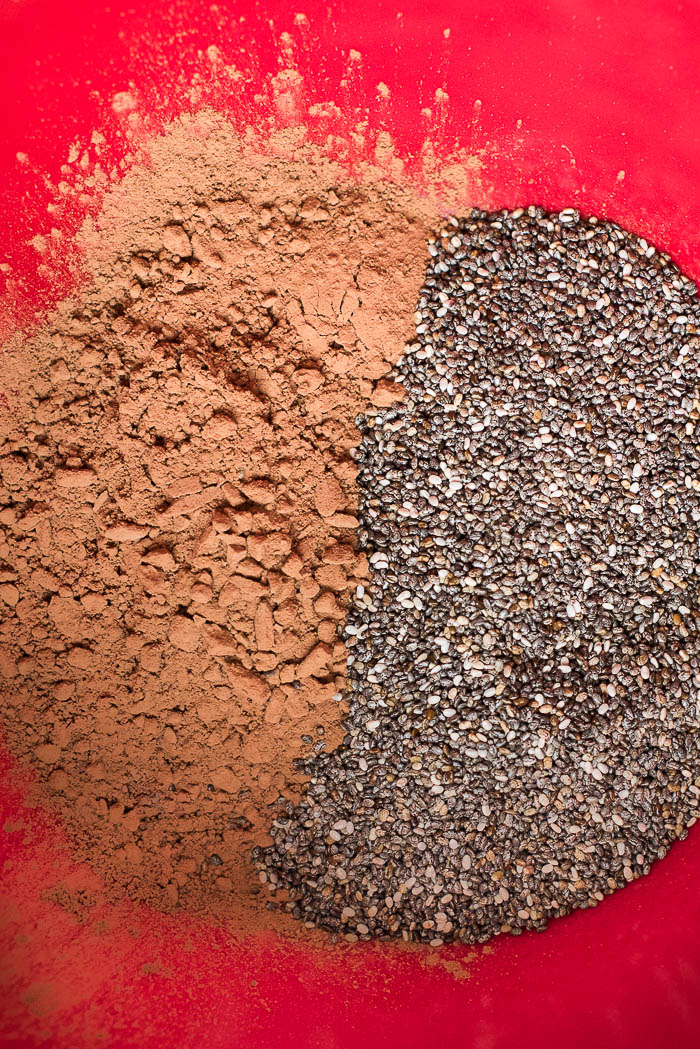 Overnight Chocolate Chia Seed Pudding- 4 simple ingredients and you have this yummy high fiber, high protein, vegan, gluten free breakfast or snack prepped in a few minutes the night before! | www.nutritiouseats.com