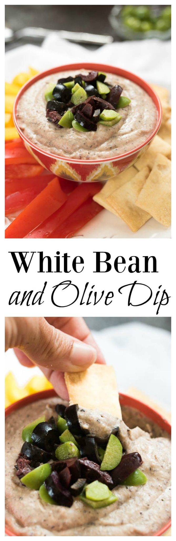 White Bean and Olive DIp- use this as a Veggie sandwich spread or a dip for crackers. Super easy to make with basic pantry ingredients.