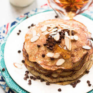 3 Ingredient Grain-Free Pancakes- high protein, dairy free, super simple to make. Top with your choice of toppings for a gluten-free, Paleo friendly breakfast! | www.nutritiouseats.com