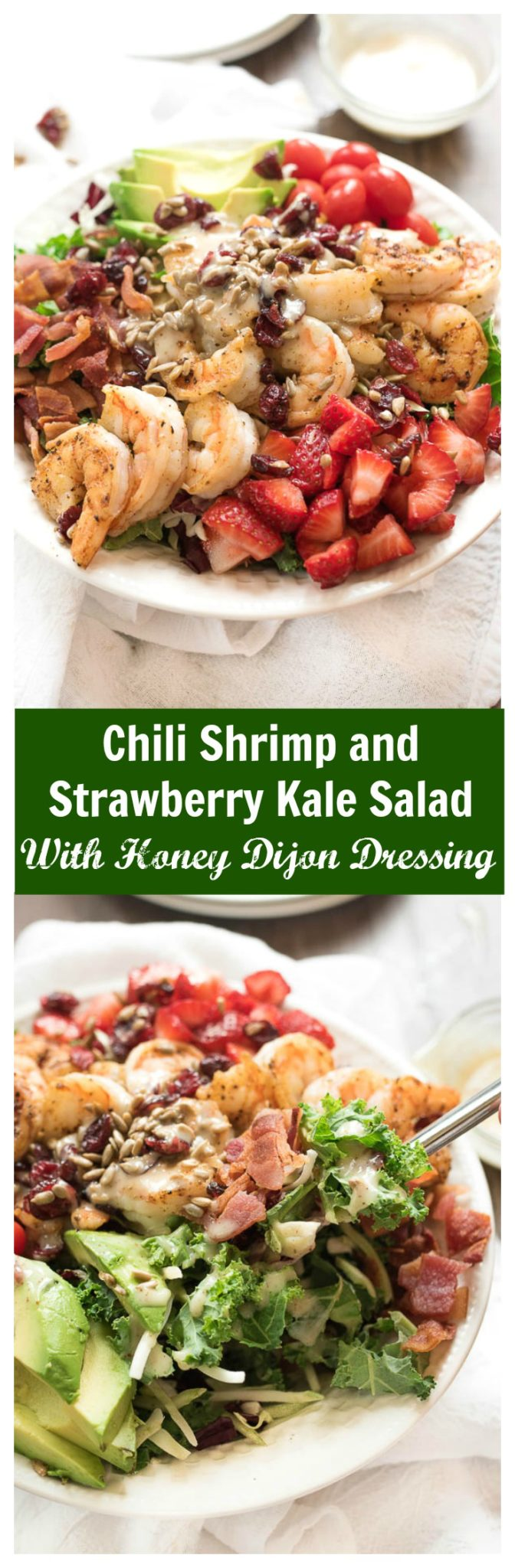 Chili Shrimp and Strawberry Salad with Honey Dijon Dressing- this simple, yet hearty salad is ready in under 15 minutes! #glutenfree #ad #eatsmartveggies